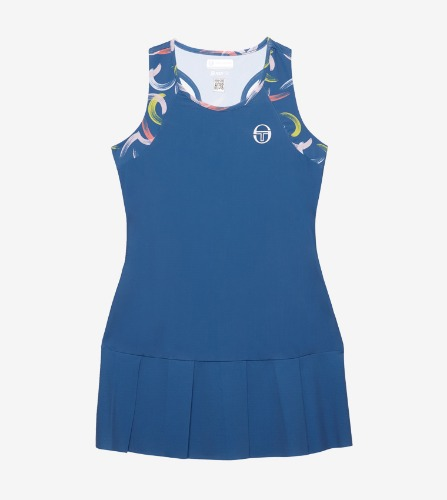 ABSTRACT DRESS [FEDERAL BLUE/WHITE]