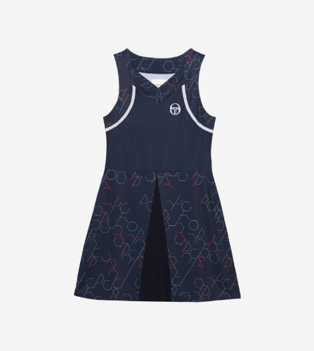 PERSPECTIVE DRESS [NAVY/PINK YARROW]